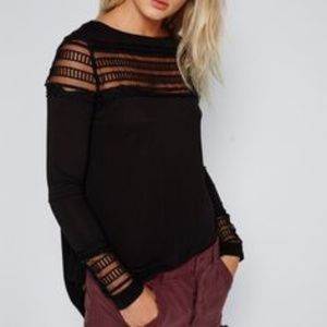 FREE PEOPLE Black long sleeve top lace cuff